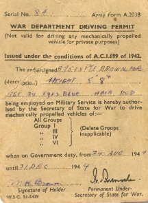 War Department Driving Permit